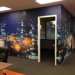 Vinyl Wall Covering, applied as floor to ceiling panels.