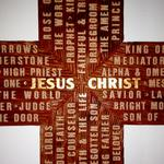 "Close up | 24"" x 36"" Redwood cross, background blast, raised lettering"